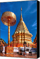 Attraction Digital Art Canvas Prints - Wat Phrathat Doi Suthep Canvas Print by Adrian Evans