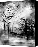 Creepy Digital Art Canvas Prints - Watcher In The Woods Canvas Print by Datha Thompson