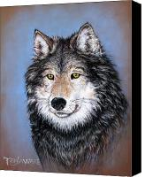 Wolf Pastels Canvas Prints - Watchful Gaze Canvas Print by Tanja Ware