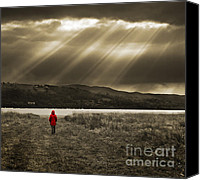 Mono Canvas Prints - Watching In Red Canvas Print by Meirion Matthias
