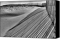 Sand Fences Canvas Prints - Watching Shadows BW Canvas Print by JC Findley