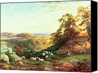 Cole Canvas Prints - Watching the Flock Canvas Print by George Vicat Cole