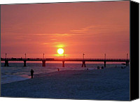 Panama City Beach Fl Canvas Prints - Watching the Sunset Canvas Print by Sandy Keeton