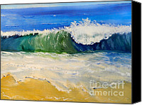 Beach Special Promotions - Watching the Wave as come on the Beach Canvas Print by Pamela  Meredith