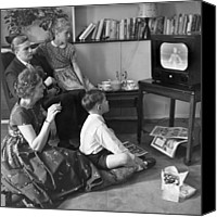 Tv Set Canvas Prints - Watching Tv Canvas Print by Bert Hardy