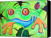 Frog Art Canvas Prints - Watching You Red Eyed Tree Frog Canvas Print by Nick Gustafson