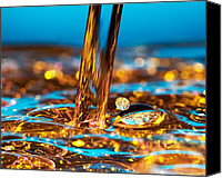 Wet Canvas Prints - Water And Oil Canvas Print by Setsiri Silapasuwanchai
