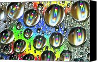 Inspirational Photograph Canvas Prints - Water beads and spectrum colors Canvas Print by Heiko Koehrer-Wagner