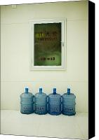 Hall Way Canvas Prints - Water Cooler Bottles and Fire Hydrant Cabinet Canvas Print by Andersen Ross