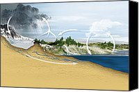 Water Cycle Canvas Prints - Water Cycle, Diagram Canvas Print by Claus Lunau