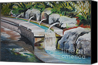 Land Pastels Canvas Prints - Water Fall In The Gratto Canvas Print by Joy DiNardo Bradley         DiNardo Designs