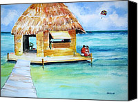 Carlin Blahnik Painting Canvas Prints - Water Hut Canvas Print by Carlin Blahnik