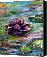 Water Sculpture Canvas Prints - Water lilies - two pieces Canvas Print by Raya Finkelson