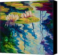 Water Lily Canvas Prints - Water Lilies I Canvas Print by Marion Rose