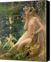 Forest Canvas Prints - Water Nymph Canvas Print by Gaston Bussiere