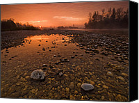 Featured Tapestries Textiles Canvas Prints - Water on Mars Canvas Print by Davorin Mance