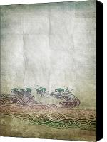 Materials Canvas Prints - Water Pattern On Old Paper Canvas Print by Setsiri Silapasuwanchai
