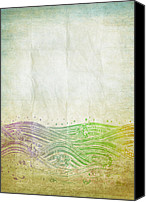 Color Mixed Media Canvas Prints - Water Pattern On Old Paper Canvas Print by Setsiri Silapasuwanchai