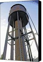 Montana Digital Art Canvas Prints - Water Tower 2 - West Yellowstone Canvas Print by Steve Ohlsen