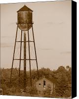 Factory Photo Canvas Prints - Water Tower Canvas Print by Olivier Le Queinec