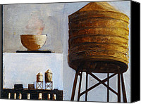 Cities Mixed Media Canvas Prints - Water Tower with Vessel Canvas Print by Barbara J Hart