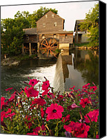 Old Mill Pigeon Forge Canvas Prints - Water Wheel Canvas Print by Laura Oakman