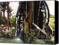 Palm Trees Mixed Media Canvas Prints - Water Wheel Canvas Print by Sarah Loft