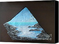 Water Sculpture Canvas Prints - Water With Rocks Canvas Print by Monika Dickson