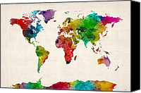 Map Of The World Digital Art Canvas Prints - Watercolor Map of the World Map Canvas Print by Michael Tompsett