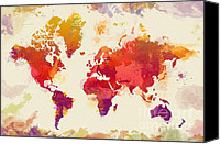 Map Art Digital Art Canvas Prints - Watercolor Map Canvas Print by Zaira Dzhaubaeva