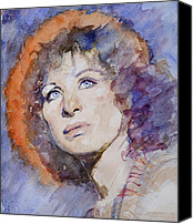 Photo-realism Canvas Prints - Watercolor of Barbra Streisand SUPER HIGH RES  Canvas Print by Mark Montana
