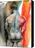 Man Painting Canvas Prints - Watercolor study 6 Canvas Print by Chris  Lopez