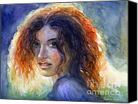 Person Drawings Canvas Prints - Watercolor Sunlit Woman Portrait 2 Canvas Print by Svetlana Novikova