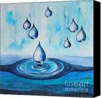 Droplet Painting Canvas Prints - Waterdrops Canvas Print by Jutta Maria Pusl