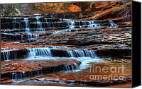 Telling Canvas Prints - Waterfall Cascade North Creek Canvas Print by Bob Christopher