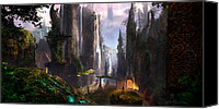 Featured Digital Art Canvas Prints - Waterfall Celtic Ruins Canvas Print by Alex Ruiz