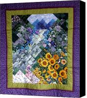 Impressionism Tapestries - Textiles Canvas Prints - Waterfall Garden Quilt Canvas Print by Sarah Hornsby