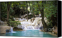 Wonderful Canvas Prints - Waterfall In Deep Forest Canvas Print by Setsiri Silapasuwanchai