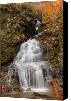 Vermont Autumn Foliage Canvas Prints - Waterfall in Smugglers Notch Canvas Print by John Burk