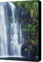 Water Art Canvas Prints - Waterfall On Hana Coast Canvas Print by Ron Dahlquist - Printscapes