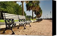 Lowcountry Canvas Prints - Waterfront Park Bench  Canvas Print by Drew Castelhano