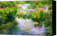 Canna Lilies Canvas Prints - Watergarden In Monet Style Canvas Print by Crystal Garner