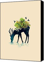 Deer Canvas Prints - Watering A life into itself Canvas Print by Budi Satria Kwan