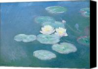 Monet Painting Canvas Prints - Waterlilies Evening Canvas Print by Claude Monet