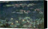 Monet Painting Canvas Prints - Waterlilies Green Reflections Canvas Print by Claude Monet
