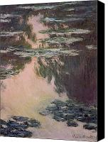 Fauna Painting Canvas Prints - Waterlilies with Weeping Willows Canvas Print by Claude Monet
