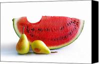 Produce Canvas Prints - Watermelon and Pears Canvas Print by Carlos Caetano