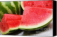 Melon Canvas Prints - Watermelon In Summertime Canvas Print by Andee Photography