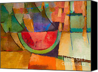 Cubism Canvas Prints - Watermelon Canvas Print by Lutz Baar