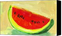 Warm Colors Painting Canvas Prints - Watermelon Canvas Print by Patricia Awapara